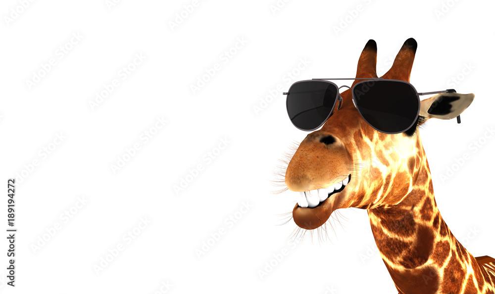 Lachende Giraffe mit Sonnenbrille
