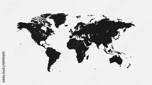 Flat World Map 1920 X 1080 Px. For Interior, Design, Advertising, Screen