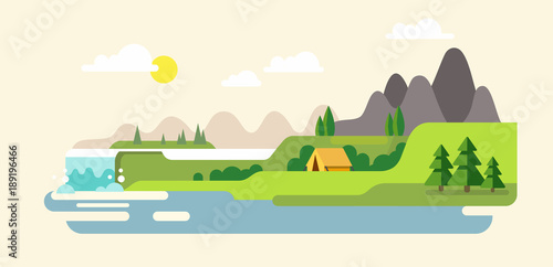 Door stickers White Nature landscape with mountains, hills. river and waterfall.