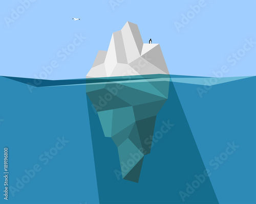 Fotomural  iceberg in ocean with penguin and Seagull
