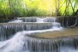 Huay Mae Kamin waterfall during rainy season in Kanchanaburi, Thailand.