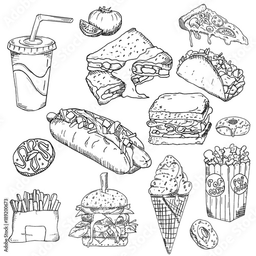 Fast Food Background Snack Collection Junk Food Vector