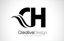 CH C H Creative Brush Black Letters Design With Swoosh