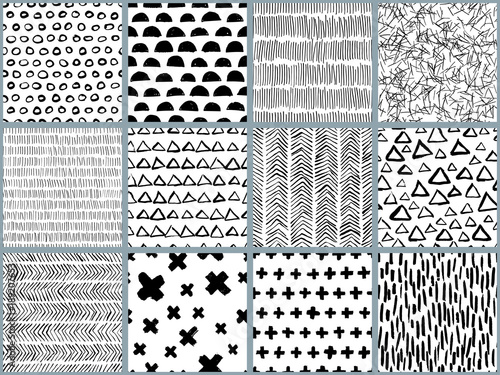 Recess Fitting Pattern Set of vector black white hand drawn seamless pattern. Abstract watercolor, ink and marker texture and background. Trendy scandinavian design concept for fashion textile print, wrapping or packaging.