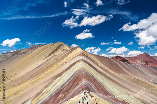 Poster Vinicunca Rainbow Mountain is located between Cusco and Puno in Peru.