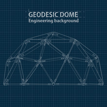 Drawing Blueprint Geodesic Dom...