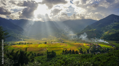 Tuinposter Bali Terraced rice field in Northern Vietnam