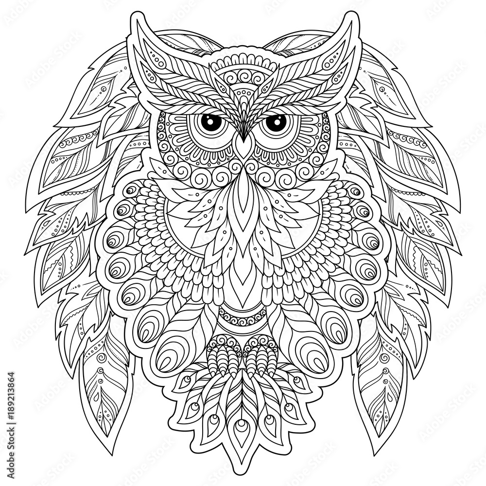 Coloring page with cute owl and floral frame. <span>plik: #189213864 | autor: photo-nuke</span>