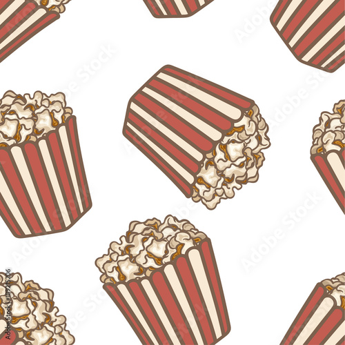 Popcorn In A Red Striped Bucket Box Vector Seamless Pattern Isolated