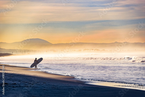 Entering the Surf on a Foggy Morning Canvas Print