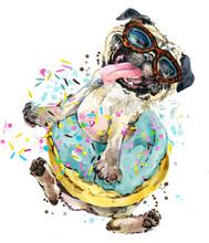Cute Little Dog Hand-drawn Watercolor Illustration