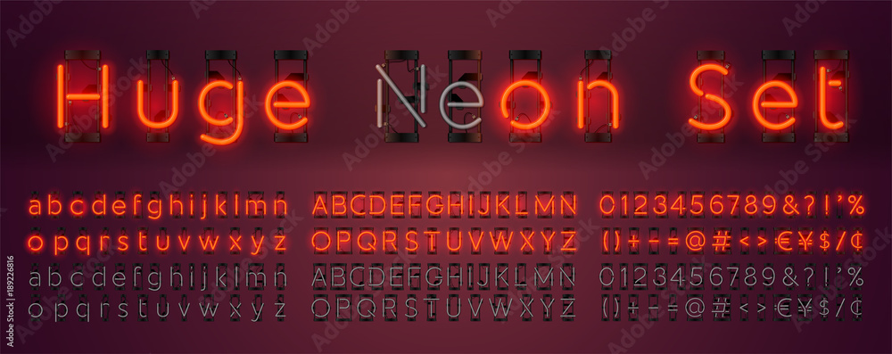 Fototapety, obrazy: Mega huge neon set glowing alphabet with upper and lowercase letters, vector Font. Glowing text effect. On and Off lamp. Neon Numbers and punctuation marks. isolated on red background.