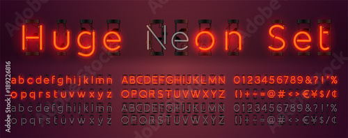 Mega huge neon set glowing alphabet with upper and lowercase letters, vector Font Wallpaper Mural