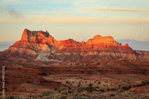 Garden Poster Deep brown Desert sunset with colorful sandstone, Utah, USA.