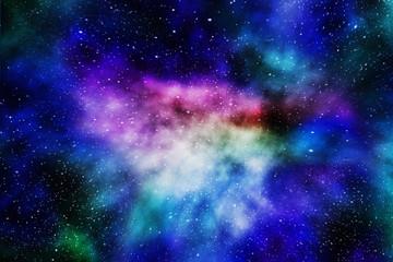 Space background. Digital illustration. Stars and beautiful nebula.