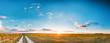 Leinwandbild Motiv Sunset, Sunrise Over Rural Meadow Field And Country Road. Countryside
