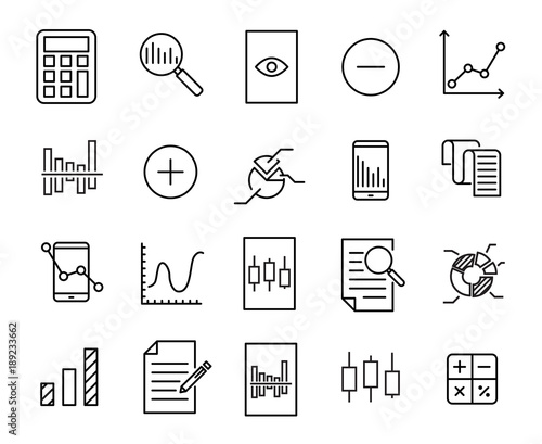 Simple collection of calculation related line icons. Canvas Print