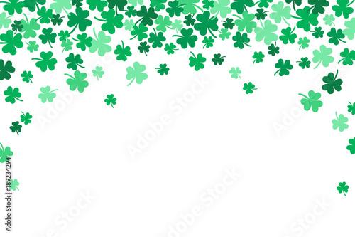 Fotografie, Obraz  Saint Patricks Day Falling Shamrocks Vector Background 1