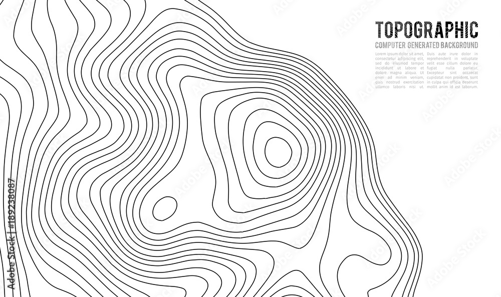 Fototapeta Topographic map contour background. Topo map with elevation. Contour map vector. Geographic World Topography map grid abstract vector illustration . Mountain hiking trail line map design .