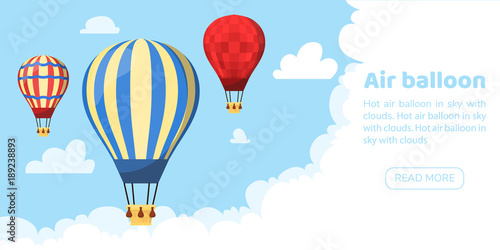 Fototapeta Flat hot air balloon