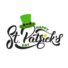 Saint Patrick's Day. Lettering St. Patrick's With Gold Coin And Leprechaun Hat. St. Patricks Day Card