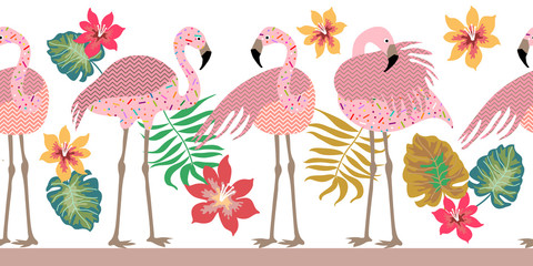 FototapetaSeamless vector border pith flamingos, flowers and palm leaves.