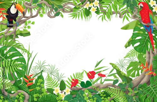 Naklejka premium Ramka roślin tropikalnych i ptaków