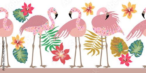 Seamless vector border pith flamingos, flowers and palm leaves. © svetlanakononov7