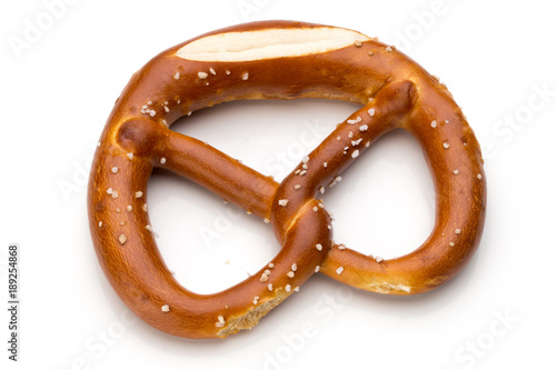 Cuadros en Lienzo Pretzel isolated on white. Fresh fragrant brezel top view.
