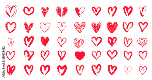 Red heart hand drawn. Icon cute doodle love. Fototapeta
