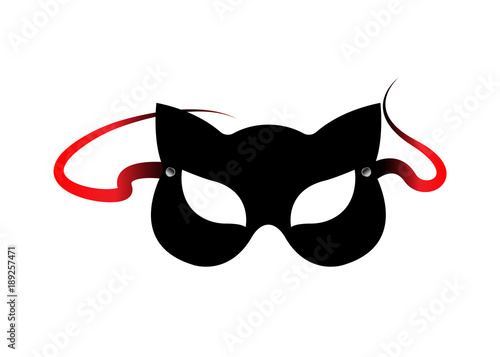 Obraz na plátně Carnival fetish cat masks, accessories from bdsm toys, vector isolated