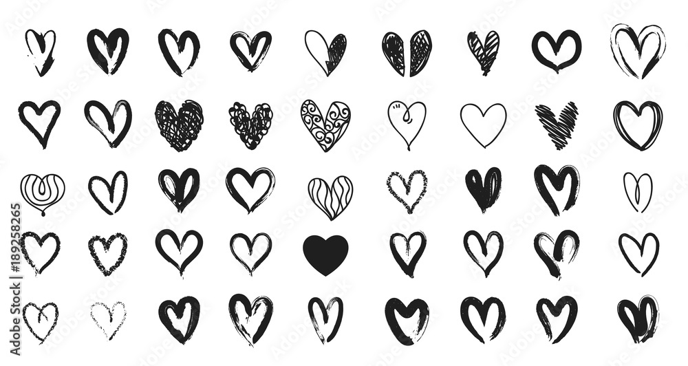 Fototapeta Black heart hand drawn. Icon cute doodle love.