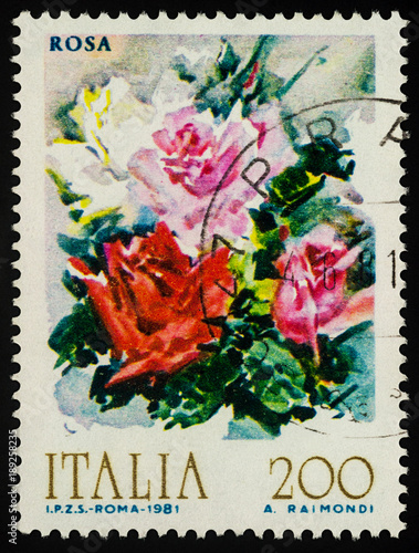 Photographie  Bouquet of roses on postage stamp
