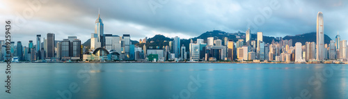 Canvas Print Hong Kong skyline in the morning over Victoria Harbour, Hong Kong China