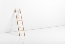 Wooden Ladder Leaning Against ...