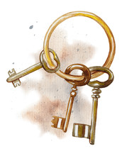 Vintage Golden Bunch Of Keys On Watercolor Splotches. Watercolor Hand Drawn Illustration