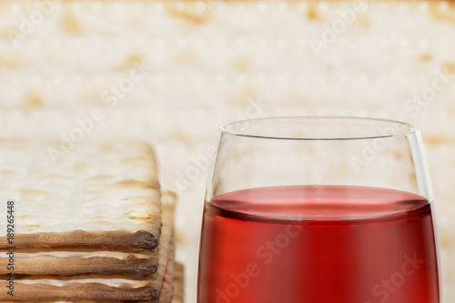 Fotografie, Obraz  Glass of Passover wine and matzah close up