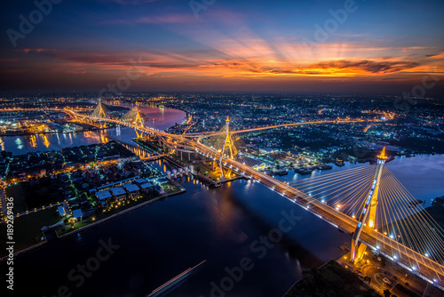 In de dag Bruggen Bangkok City - Beautiful sunset view of Bhumibol Bridge,Thailand