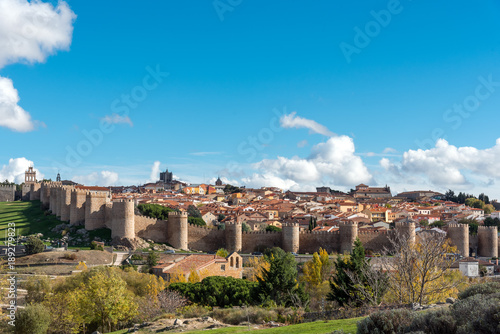 View of Avila in Spain with the famous surrounding city wall