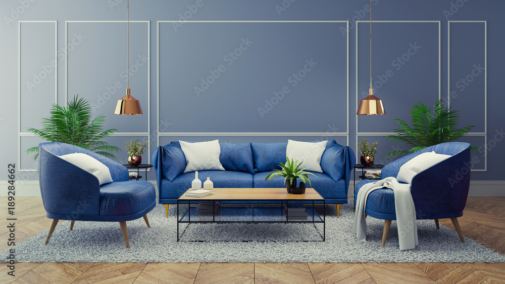 Fototapeta Luxury modern interior of living room ,Blue room decor concept ,Blue sofa and black table with gold lamp on light blue wall and woodfloor ,3d render
