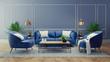 Leinwandbild Motiv Luxury modern interior of living room ,Blue room decor concept ,Blue sofa and black table with gold lamp on light blue wall and woodfloor ,3d render