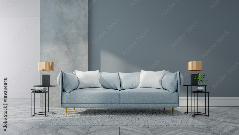 Fototapety, obrazy: Loft and vintage interior of living room, Blue sofa on white flooring and blue wall  ,3d rendering