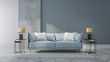 Leinwanddruck Bild - Loft and vintage interior of living room, Blue sofa on white flooring and blue wall  ,3d rendering
