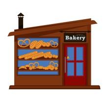 Bakery Shop Booth Facade Building Of Bread Vendor Store Vector Flat Design Isolated Icon