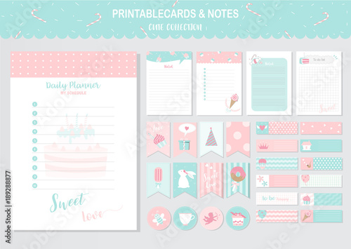 set of cute vector cards and printable sweet candy cake tags cards