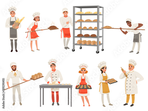 Fotografie, Obraz Bakers characters set with bread and cooking tools