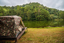 Tent For Camping On Grass In A...