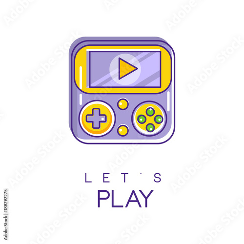 Photo  Nintendo game logo in line style with purple and yellow fill