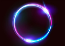 Vector Vibrant Neon Circle Wit...
