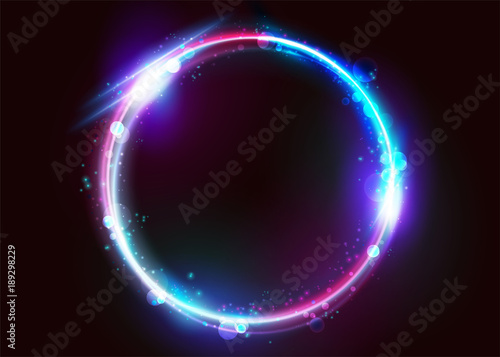 Vector Vibrant Neon Circle with Bokeh Effect. Round Frame with Empty Space for Text. Abstract Bright Neon Loop with Transparency. Colorful Shine, Magic Glare, Futuristic Illumination, Glow, Flare.